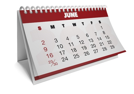 render of a 2013 calendar with real dates of june
