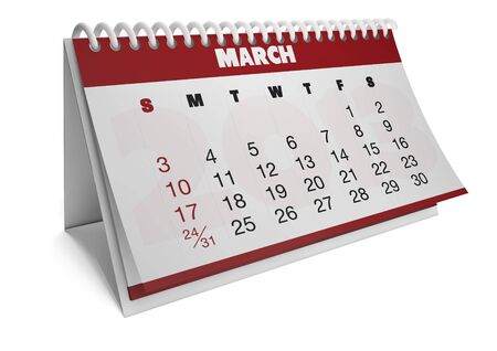 render of a 2013 calendar with real dates of march