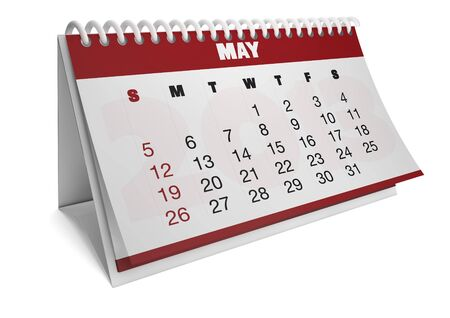 render of a 2013 calendar with real dates of may Stock Photo - 15505191