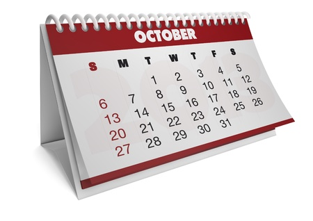 render of a 2013 calendar with real dates of october Stock Photo