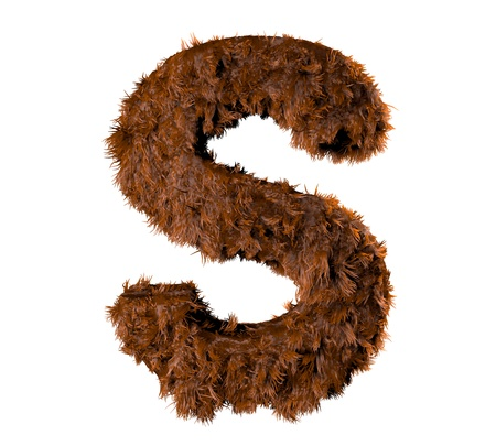 fuzzy: 3d render of a hairy s