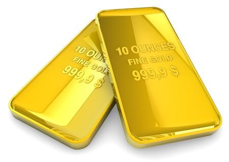 lingotes de oro: 3d rinden de dos onzas de oro Foto de archivo