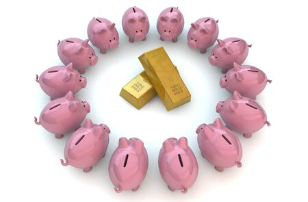 Render of piggybanks around the gold photo