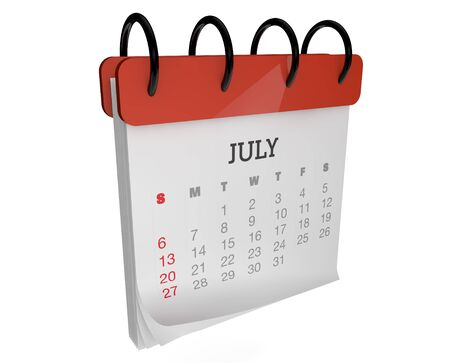 render of an square calendar july month Stock Photo - 15542426