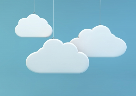 3d render of three clouds photo