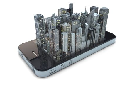 render of an smartphone with a modern city over the screen Stock Photo