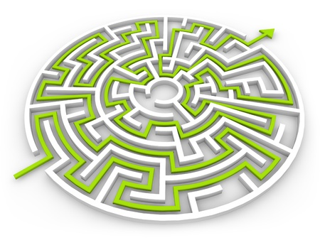 solved maze puzzle: 3d render of a labyrinth
