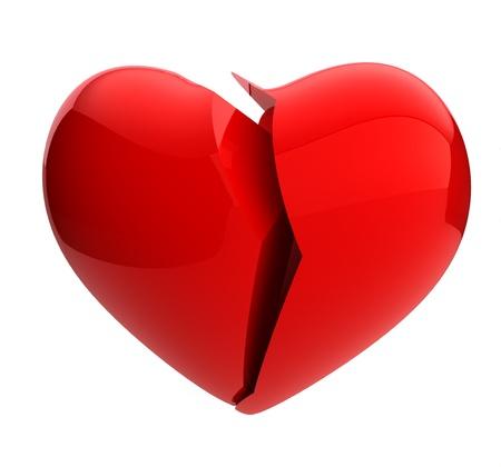 scheidung: 3d render eines gebrochenen Herzens