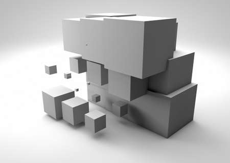 abstract cubes: render of a group of abstract cubes