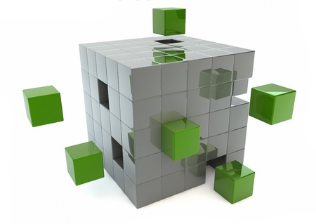 Matrix of green and silver cubes photo