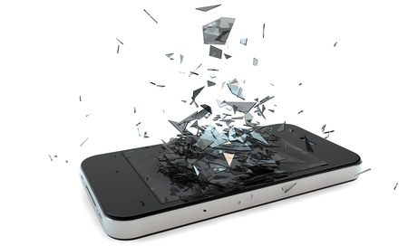 vidrio roto: rinde de un teléfono inteligente roto Foto de archivo