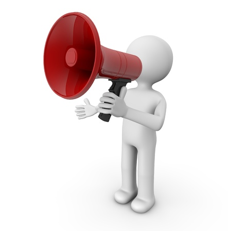 expostulate: render of a man with a megaphone Stock Photo