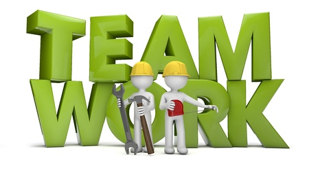 contruction: render of two workers and the text teamwork