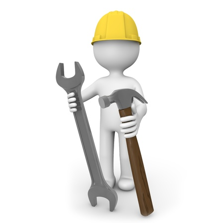 contruction: render of a man with a wrench and a hammer