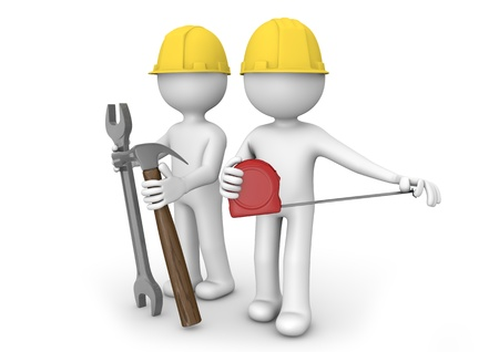 repairer: render of two workers with equipment