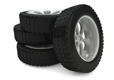 render of a group of tires photo