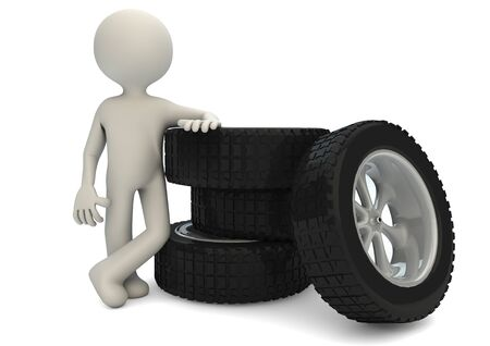 render of a man with a group of tires photo