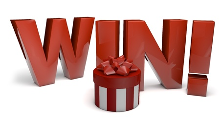 render of the text win and a gift Stock Photo - 15779627