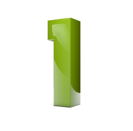 3d rener of a green number one