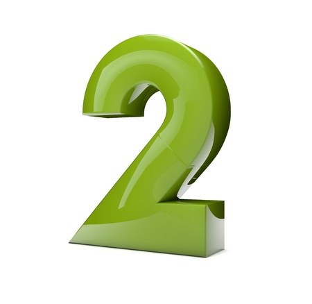 number 2: 3d rener of a green number two