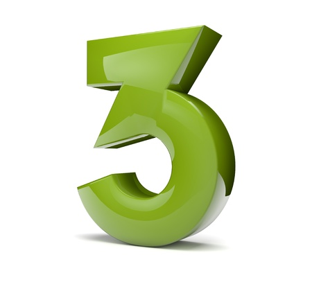 number three: 3d rener of a green number three Stock Photo