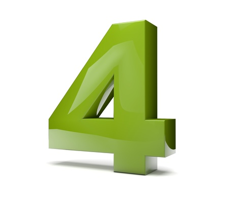 Number 4: 3d render of a green number four Stock Photo