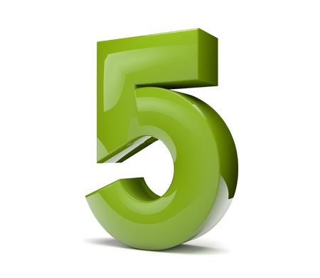 3D render van een groen nummer vijf