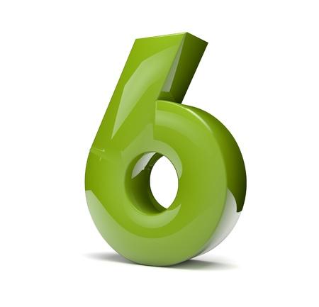 3D render van een groen nummer zes
