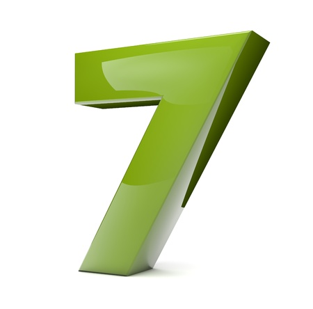 number seven: 3d render of a green number seven