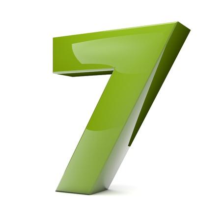 3d render of a green number seven
