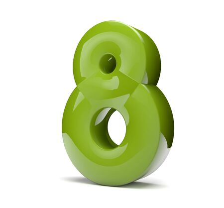 3d render of a green number eight Stock Photo