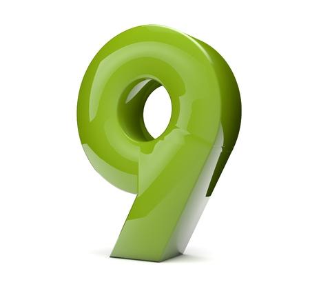 number nine: Render 3D de un n�mero verde nueve