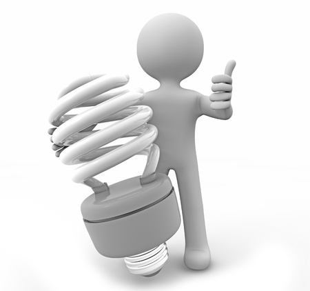 lumen: render of a man with a lightbulb Stock Photo