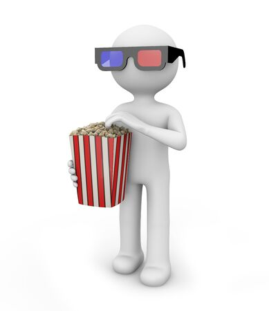 man with pop corn and 3d glasses Stock Photo - 15882973