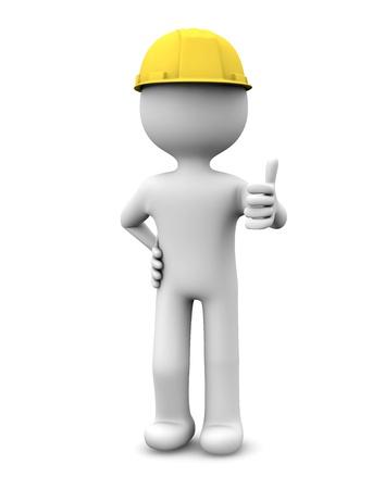 pulgar levantado: hacen de un trabajador con el pulgar hacia arriba