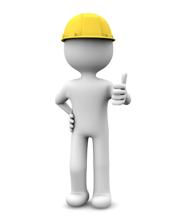 render of a worker with thumb up Stock Photo - 15882867