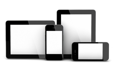 electronic tablet: 3d render of smartphones and tablet pc Stock Photo