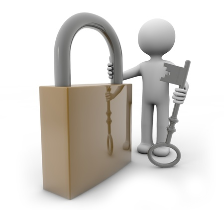 ecurity: render of a man with a padlock and a key
