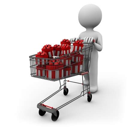 man pushing a cart full of gifts photo