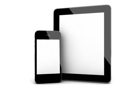 electronic tablet: 3d render of an smart phone and a tablet Stock Photo