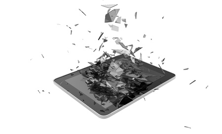 render of a broken tablet photo