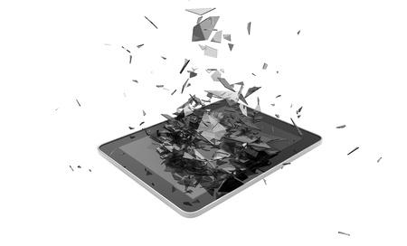vidrio roto: rinde de una tableta rota