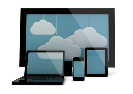 computer devices: render of a group of devices with a cloud image on the screen