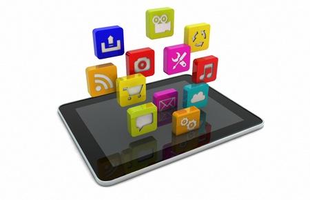 downloading: render of a tablet downloading apps
