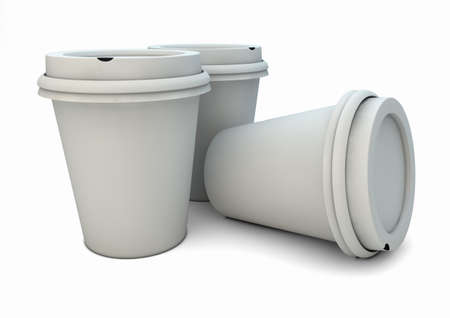 take away: render of three coffee mugs Stock Photo