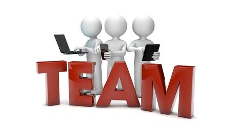 cooperativismo: tres frikis con los dispositivos y el equipo de texto