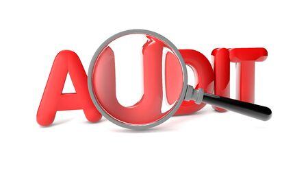 audit: Rendern des Texts Pr�fung und einer Lupe