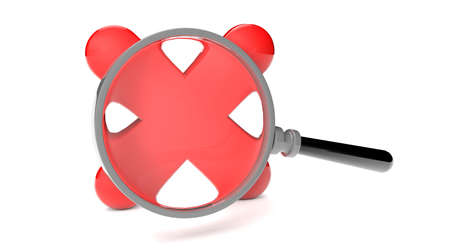 render of a rejected icon and a magnifying glass Stock Photo - 16509506