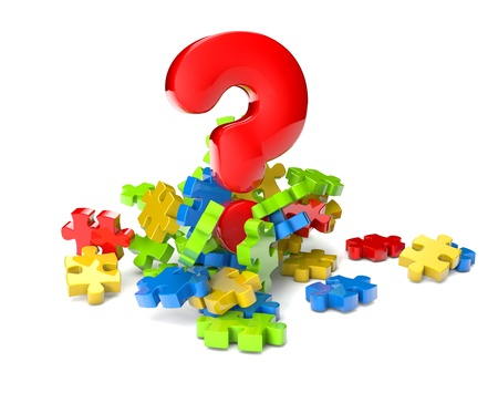 render of puzzle pieces and a question mark photo