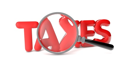 render of the text taxes and a magnifying glass Stock Photo - 16509538